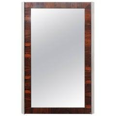Mid Century Modern Rosewood & Chrome Milo Baughman Style Dresser Wall Mirror