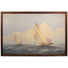 Schooner Oil on Canvas by Chase