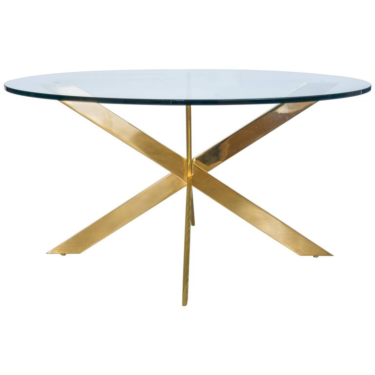 Double X-Base Brass Coffee Table by Leon Rosen for Pace Collection