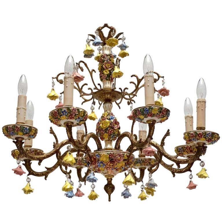 Pair of Gilt Iron with Porcelain Flowers Chandeliers
