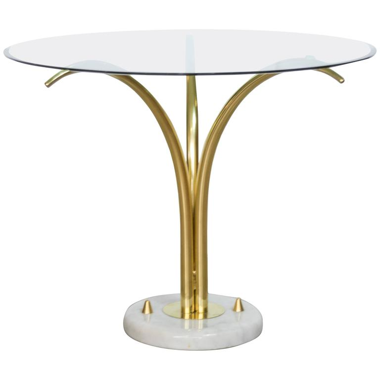 Mid-Century French Brass and Marble Palm Table by Maison Jansen