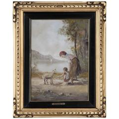 19th Century Framed Tuscan Oil Painting on Canvas by F. Mancini