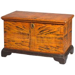Great Paint Decorated And Wrought Iron Chest From Norway