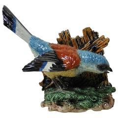 Very Rare 19th Majolica Bird Jardiniere Hugo Lonitz