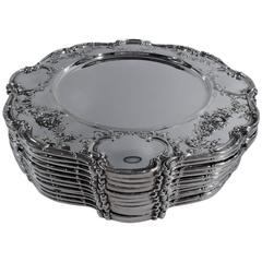 Set of 12 Gorham Edwardian Sterling Silver Dinner Plates Chargers