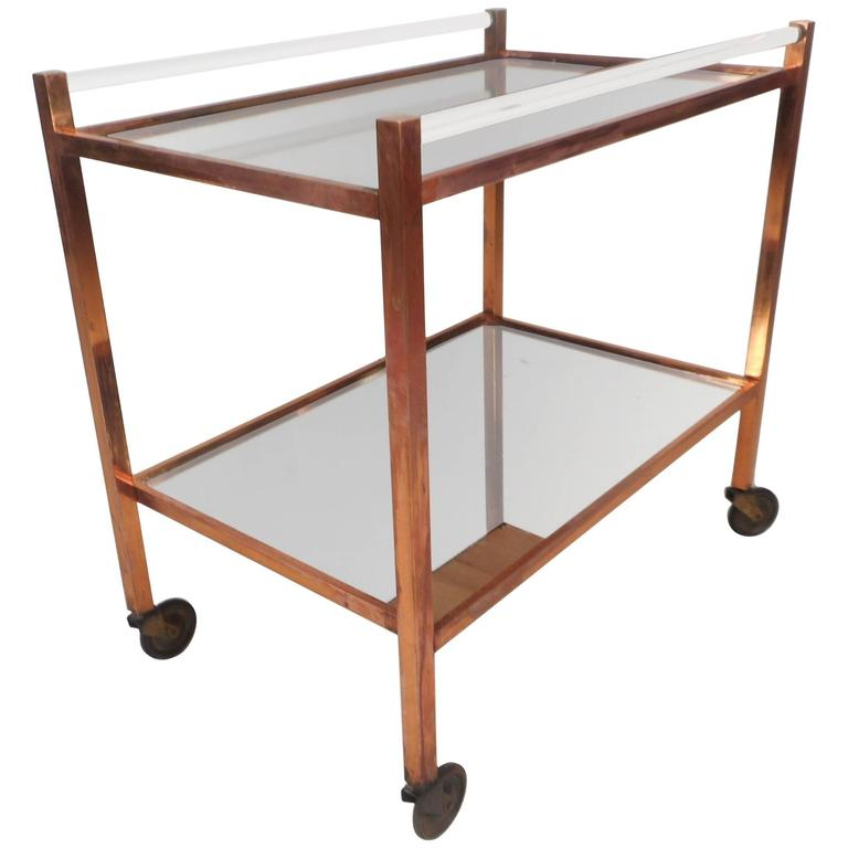 Unique Mid-Century Modern Copper and Lucite Bar Cart