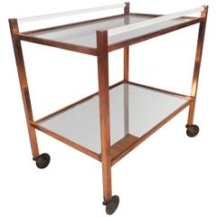 Unique Mid-Century Modern Copper and Lucite Bar Cart
