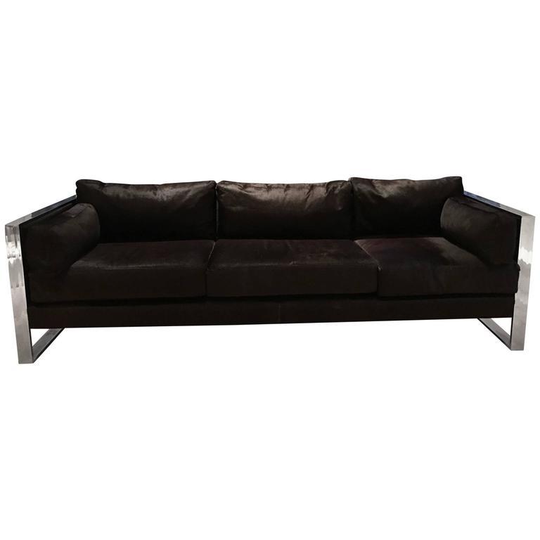 Milo Baughman Chrome Sofa