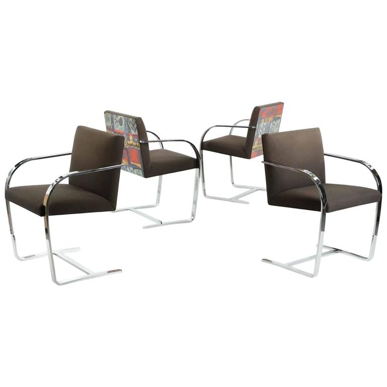 Vintage Set of Four Chromed Flat Arm Chairs after Mies Van Der Rohe BRNO