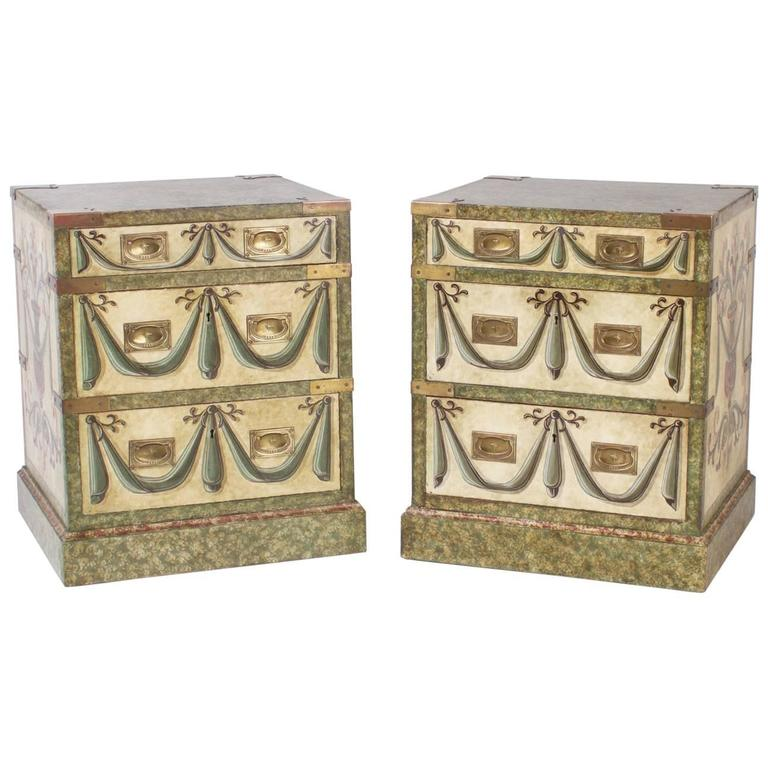 Pair of Vintage Painted Three-Drawer Nightstands