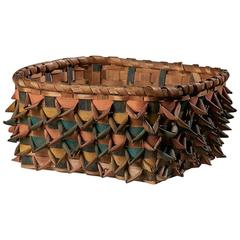 Native American Ribbon-Work Square Basket