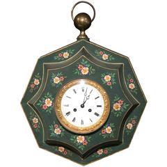 19th Century French Napoleon III Tole Wall Clock with Hand-Painted Flowers