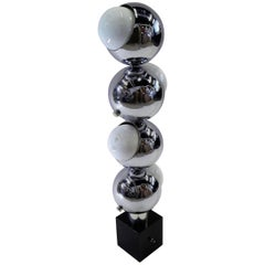 1970s Robert Sonneman Space Age Chrome Ball Molecule Lamp