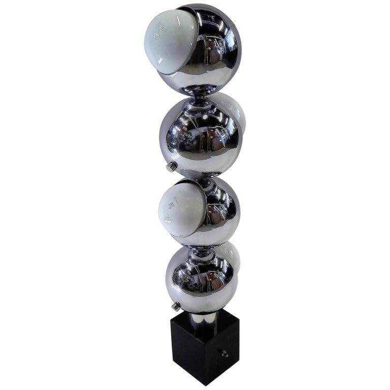 1970s Robert Sonneman Space Age Chrome Ball Molecule Table Floor Lamp