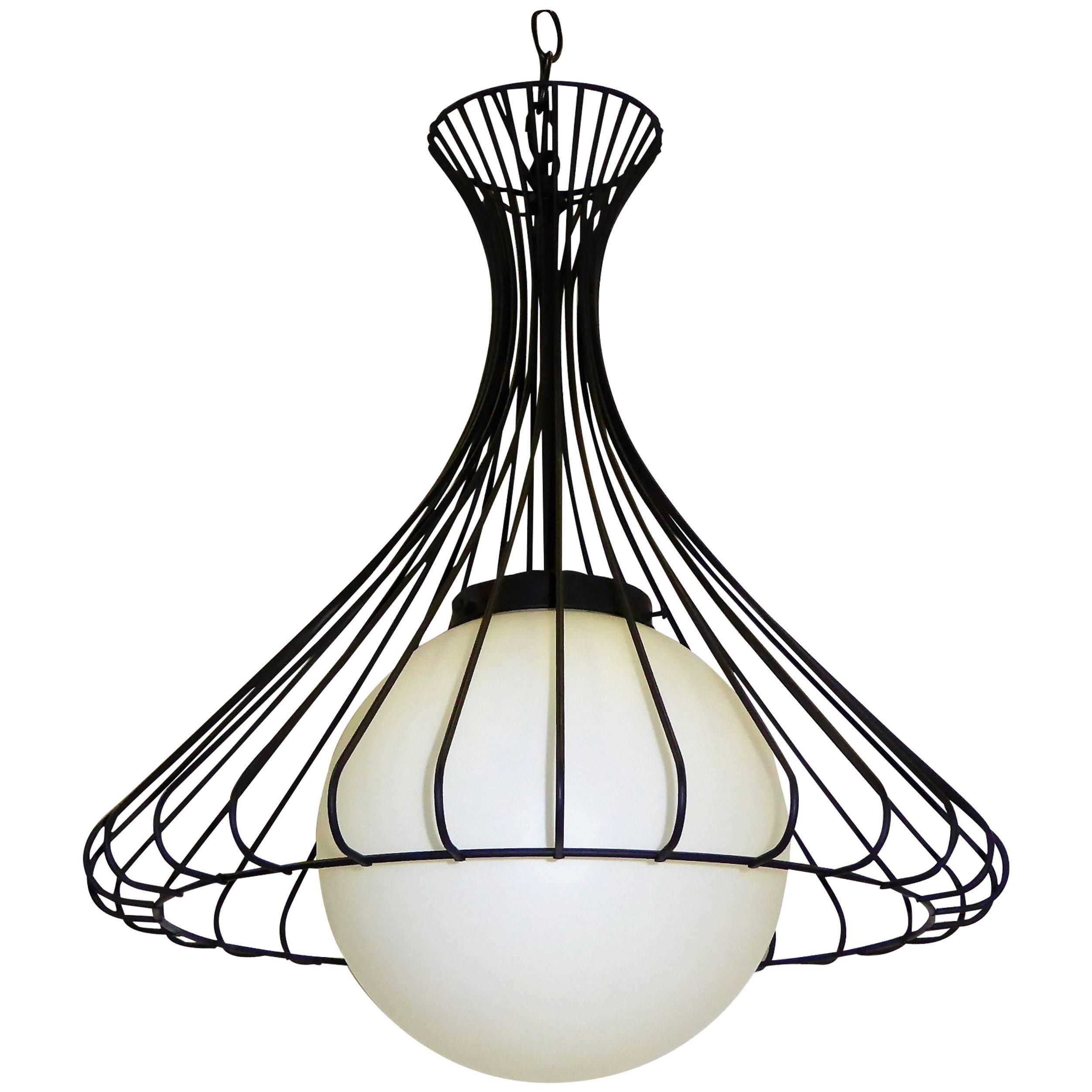 Steel Wire Chandelier Center Wiring A 1950s Satin Glass Globe With Sculptural Bell Rh 1stdibs Com Diagram Frame