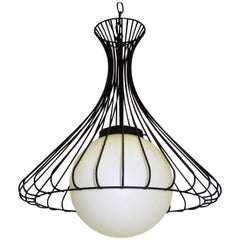1950s Satin Glass Globe Chandelier with Sculptural Steel Wire Bell