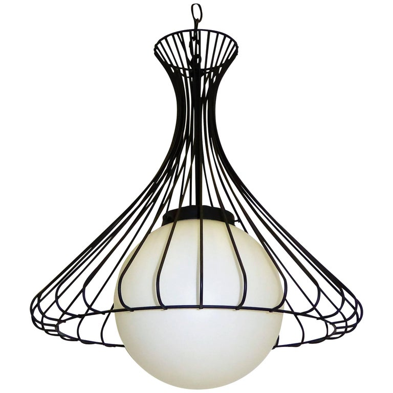 1950s Satin Glass Globe Chandelier with Sculptural Steel Wire Bell For Sale