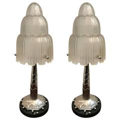 Pair of French Art Deco Table Lamps Signed by Sabino with Marble Base
