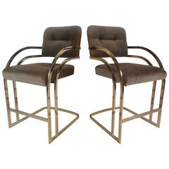 Mid-Century Modern Bar Stools in the Style of Milo Baughman