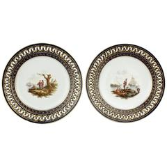 Pair of Antique Meissen Porcelain Reticulated Cabinet Plates with Cobalt Borders