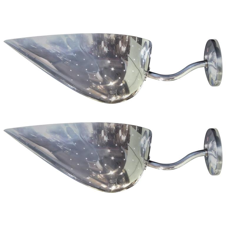 Pair Monumental Carl-Axel Acking Polished Aluminum Sconces Sweden For Sale