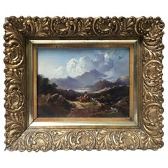 19th Century Oil on Board Mountain Painting with Gilt Frame