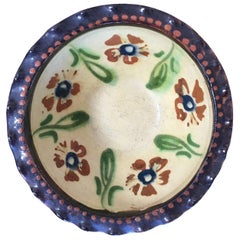 19th Century French Jaspe Bowl Hand-Painted with Floral Motive