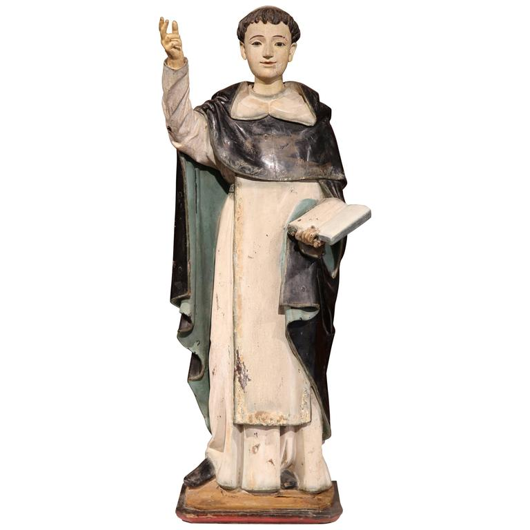 Early 18th Century Italian Carved and Painted Statue of Saint Thomas Aquinas