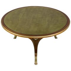 Empire Style Mahogany Coffee Table with Gilt Glass