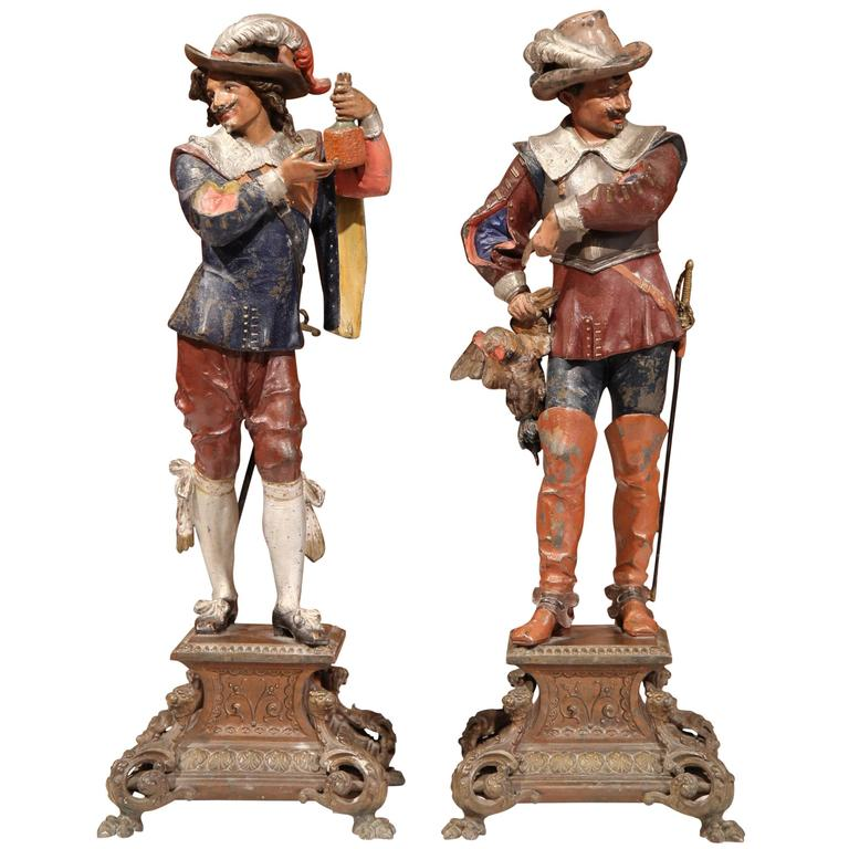 Pair of 19th Century French Hand-Painted Metal Musketeer Figurines on Stand