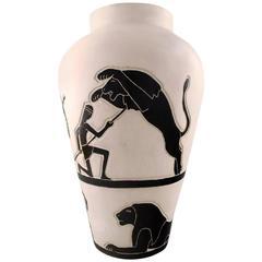 Robert Loiseleur for Lezoux, French Ceramist. Large Modernist Floor Vase