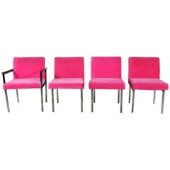 Hot Pink and Chrome Dining Chairs American of Martinsville, Mid-Century Modern