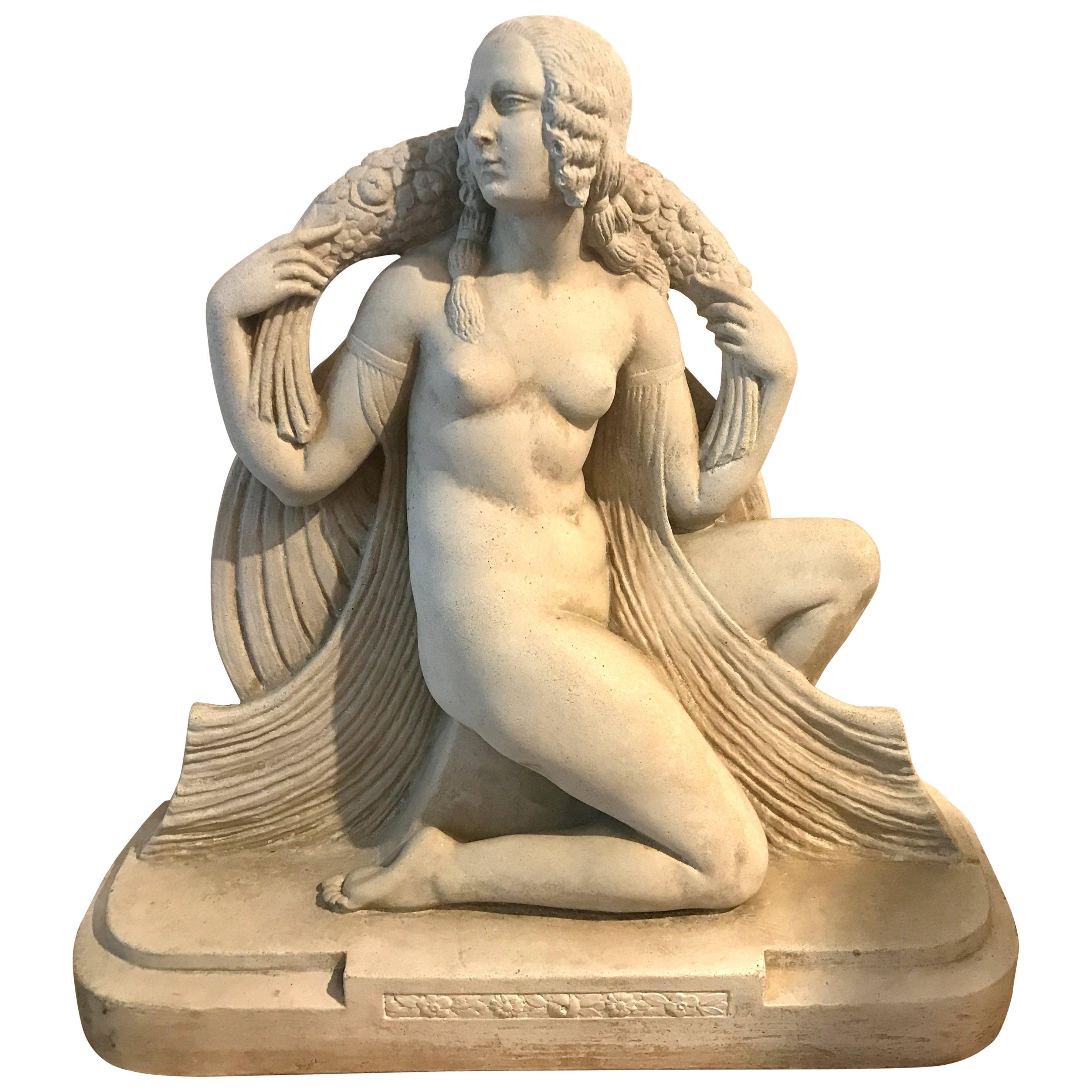 Rare Joe Descomps Art Deco Nude Sculpture