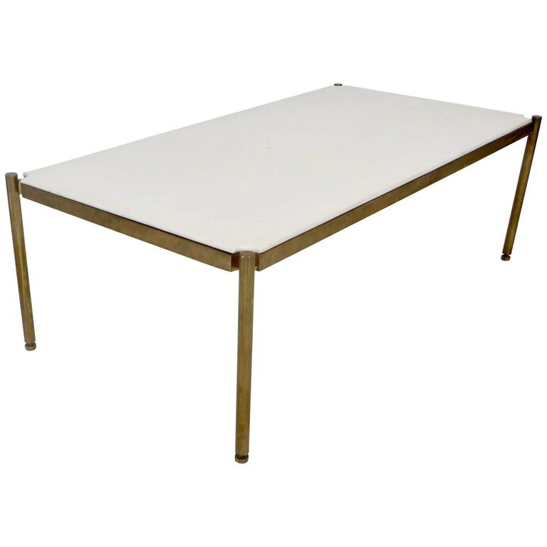 Italian Coffee Table in White Statuary Marble and Bronze Base 1