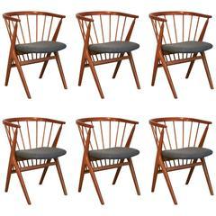 Vintage Danish Model No.8 Teak Dining Chair Set of Six