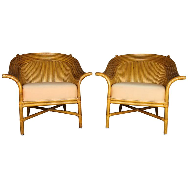 Pair Of Rattan Club Chairs With Fan Backs Vintage In The Style Mcguire For