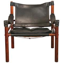 Vintage Danish Rosewood and Leather Safari Chair by Arne Norell