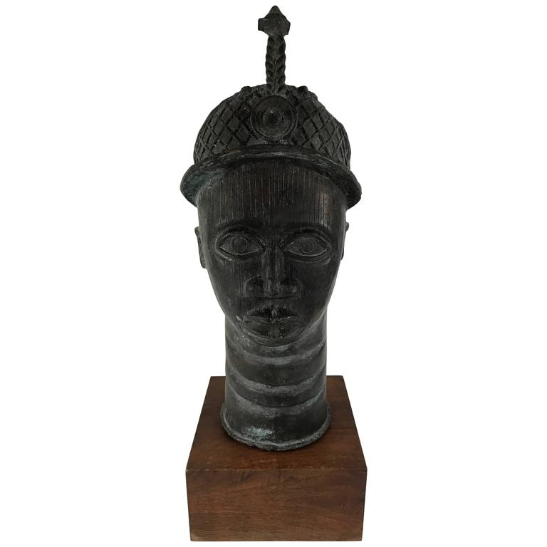 African Bronze Head Sculpture of King Oba