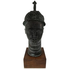 African Bronze Head Sculpture of King Oba