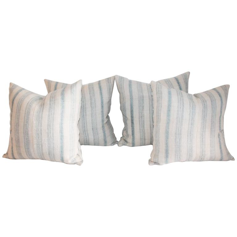 Two Pairs of Striped 19th Century Linen Ticking Pillows