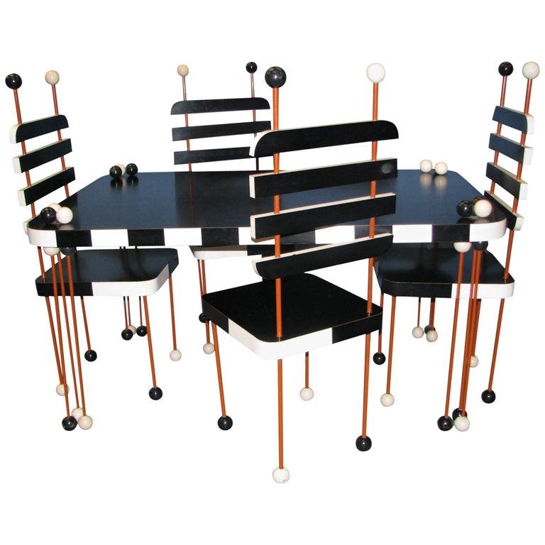 Unique Italian Modernist Five-Piece Dining Set For Sale
