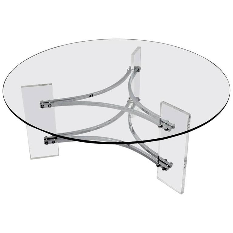 Lucite Chrome and Glass Coffee Table after Charles Hollis Jones