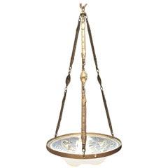 French Art Nouveau Style Blown Glass Lantern Chandelier, Signed