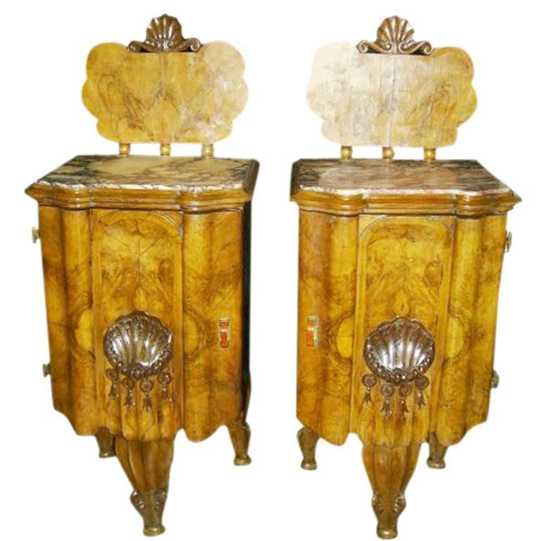Pair of Art Deco Exotic Veneered Nightstands