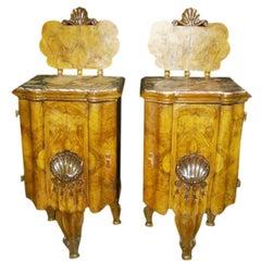 Pair of Art Deco Exotic Veneered Nightstands