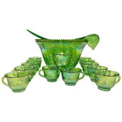 Mid-Century Green Cut Glass Punch Bowl Set of 17