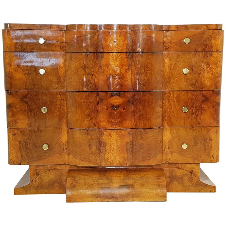 Art deco dresser made of french walnut for sale
