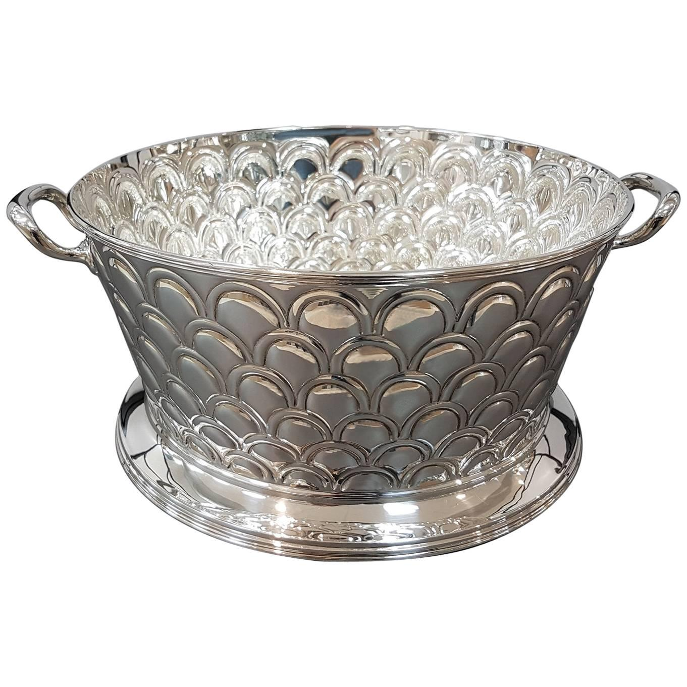 20th Century Italian Silver Round basket with handles. Handicraft made in Italy