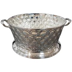 20th Century Silver Round basket with handles