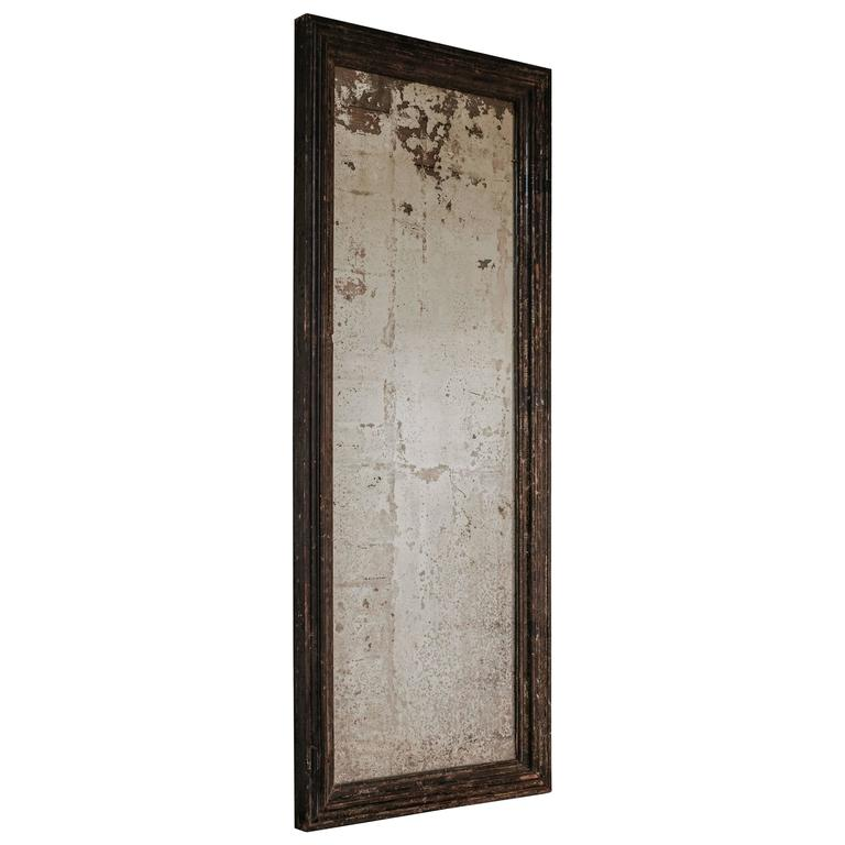 Large 19th century distressed ebonized mirror for sale at for Floor length mirror for sale
